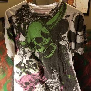 Iron Fist tee shirt skulls 80s pink green